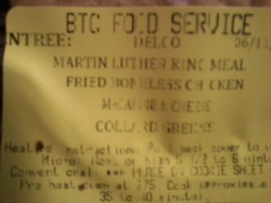 Dr Martin Luther King Meal
