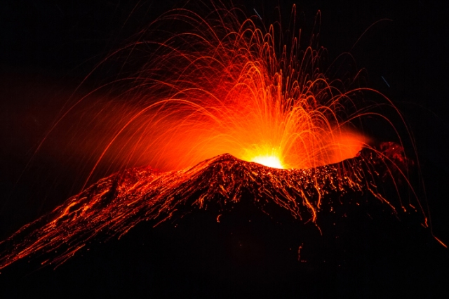 Molten lava gushes out of Sicily's Mount Etna
